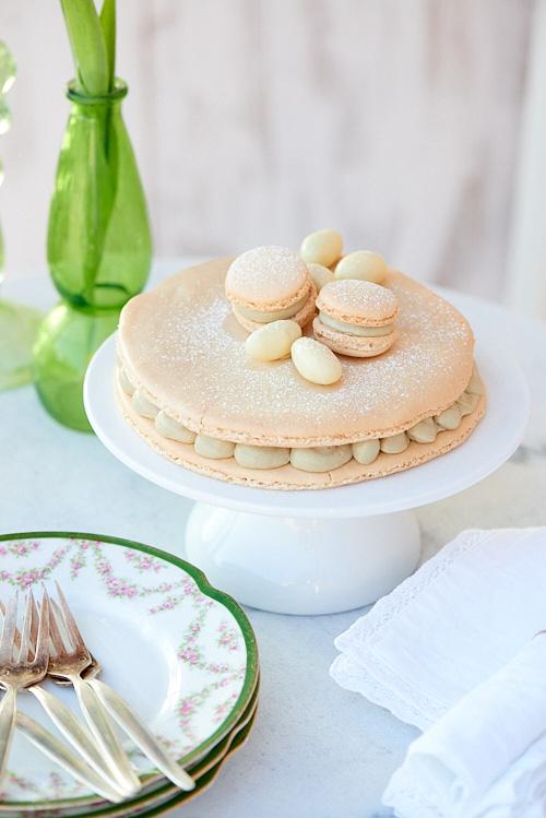 Photo culinaire d'un gros macaron au chocolat blanc et thé matcha