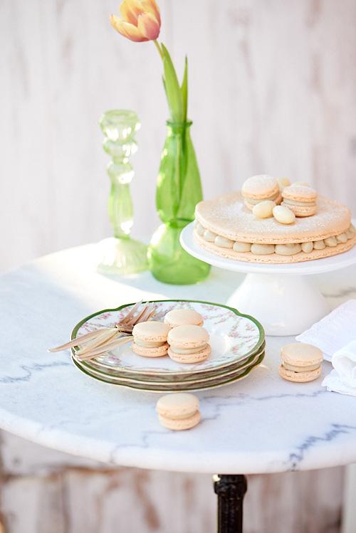 photo culinaire de macarons au thé matcha
