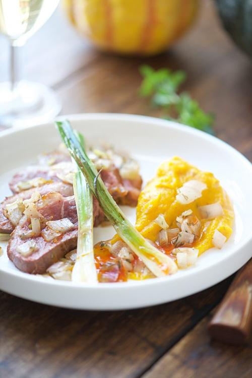 photo culinaire de Magret de canard, crème de potimarron