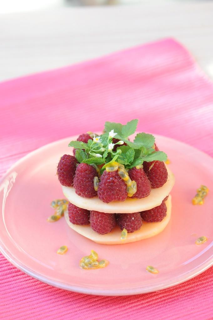 photo culinaire de Millefeuille melon framboise