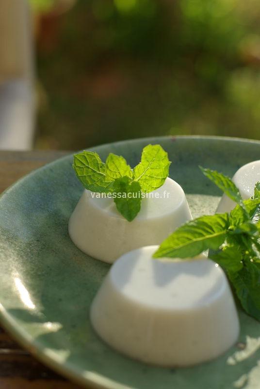 photo culinaire de Panna cotta au lait de coco et à la menthe fraîche