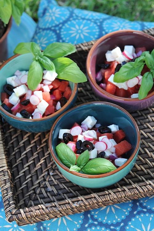 photo culinaire de Salade grecque pastèque feta et olives