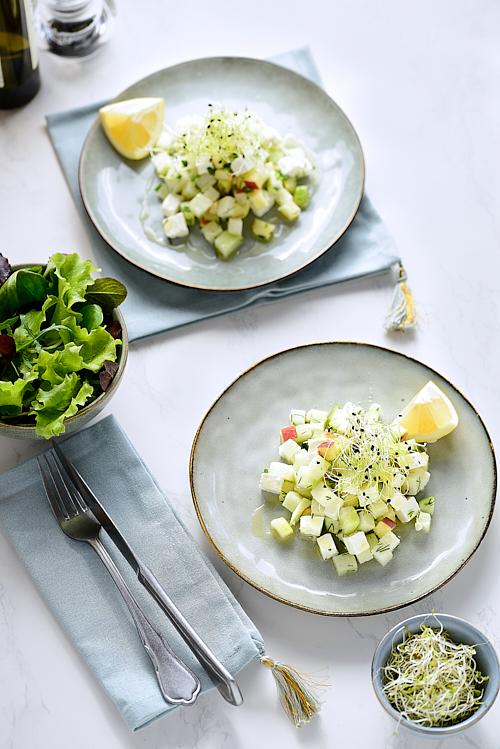Photo culinaire de Tartare de chou rave au manouri