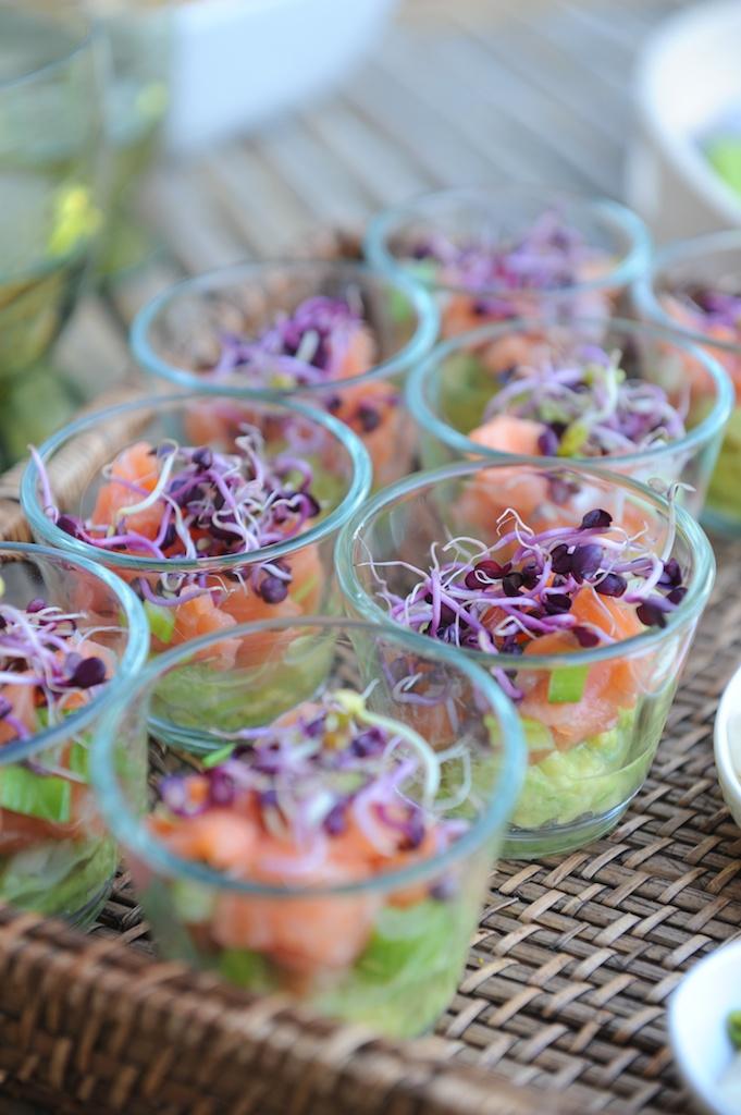 verrines guacamole saumon pousses