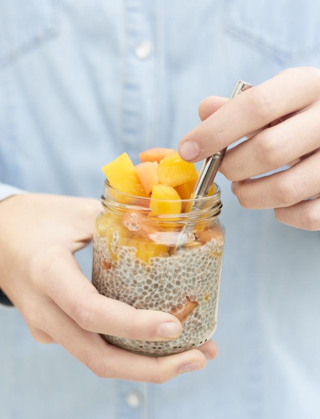photo culinaire de Chia pudding mangue papaye