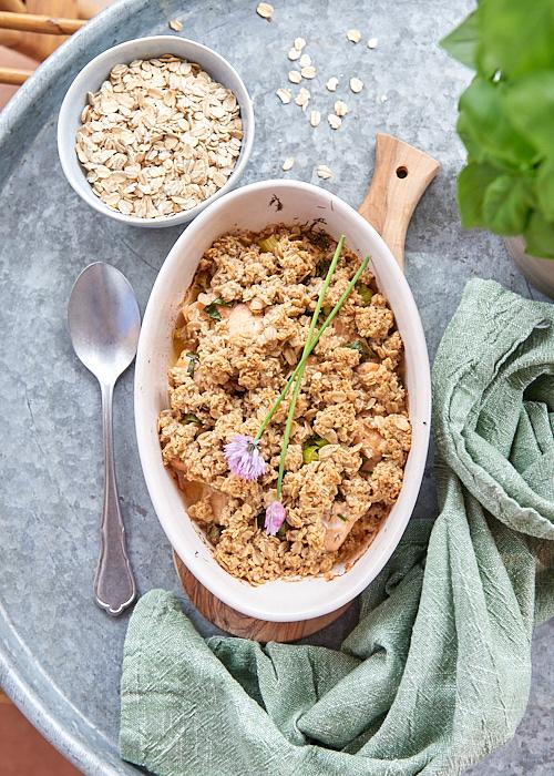 recette de Crumble de saumon aux flocons d'avoine