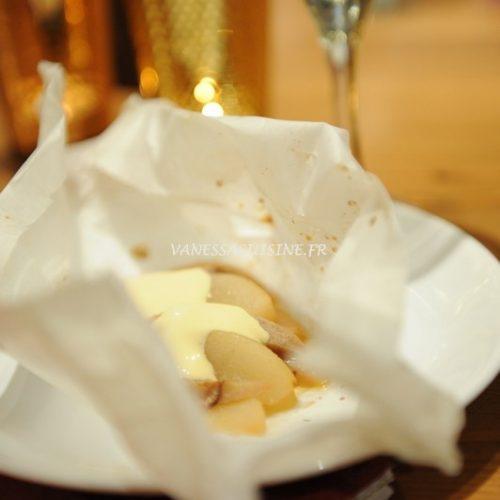 recette de Papillote poire banane, crème aux fruits de la passion