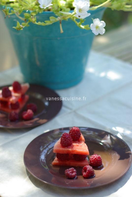 recette de Millefeuille pastèque framboise et sirop litchi-citronnelle