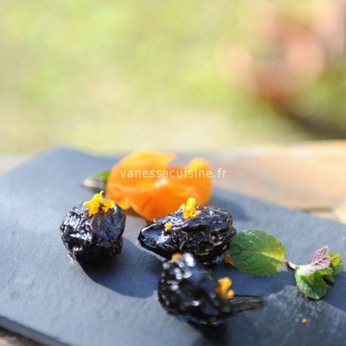 recette de Pruneaux à la crème de cassis et aux agrumes