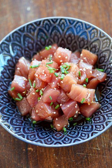 recette de tekkadon, thon cru mariné