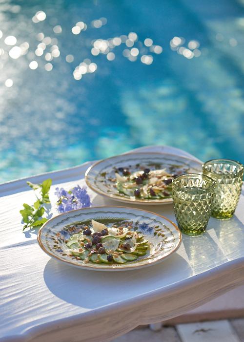 recette de Carpaccio de courgette aux olives taggiasche et parmesan