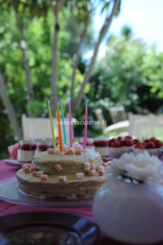 recette de Gâteau d'anniversaire au chocolat blanc