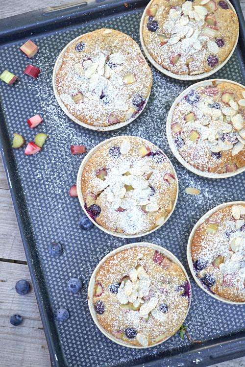 recette de Gâteaux rhubarbe myrtilles et miel