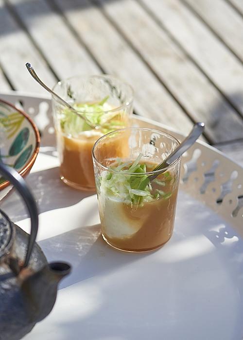 recette de Coulis de pêches blanches au yaourt et granny smith