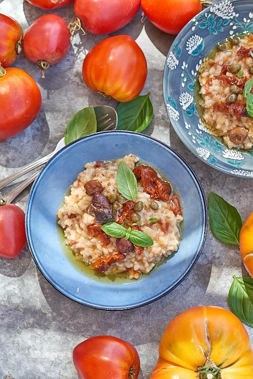 photo culinaire de risotto aux tomates séchées