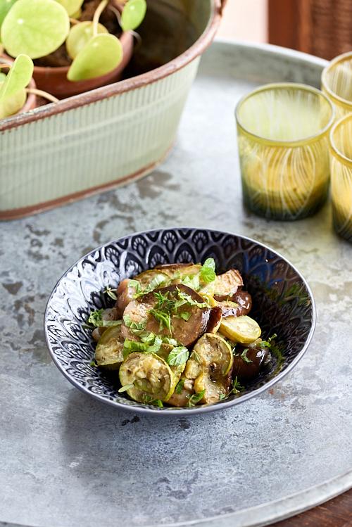 recette de Salade d'aubergines grillées à la menthe