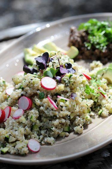 recette de salade de quinoa au crabe et courgette, un peu thaïe