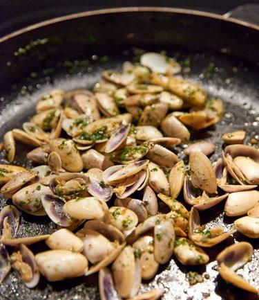 recette de tellines à l'ail et au pistou